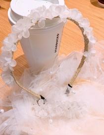 Fashion Milk White Resin Handmade Flower Alloy Thin Edge Hair Band