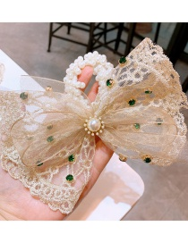 Fashion Creamy-white Lace Big Bow Pearl Hair Rope