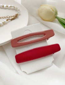 Fashion Light Red Deep Red Resin Geometric Cutout Contrast Hairpin Set