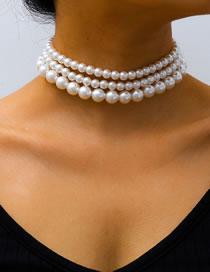 Fashion White K Imitation Size Pearl Multi-layer Necklace