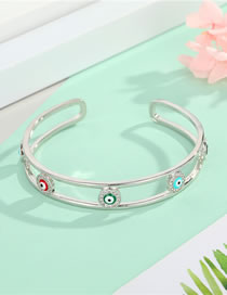Fashion Silver Zircon Eyes Gold-plated Diamond And Oil Drop Opening Bracelet