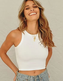 Fashion White Solid Color Crew Neck Short Slim Vest