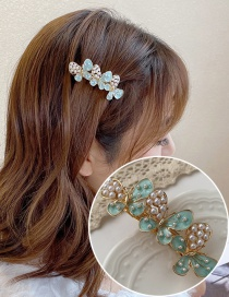 Fashion Green Butterfly Pearl Dropping Alloy Hollow Hair Clip