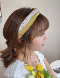 Fashion Yellow Wave Dot Mesh Gauze Contrast Color Knotted Wide-brimmed Headband