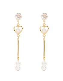Fashion Golden Imitation Pearl Love Alloy Hollow Earrings