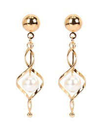 Fashion Golden Drop-shaped Pearl Thread Alloy Earrings