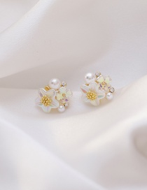 Fashion Trumpet Flower Pearl Diamond Earrings