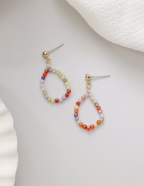 Fashion Color Handmade Crystal Beaded Geometric Earrings