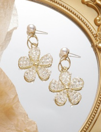 Fashion White Crystal Pearl Alloy Flower Earrings