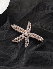 Fashion Pearl Starfish Pearl Diamond Alloy Hair Clip
