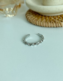 Fashion Fine Silver Adjustable Tin Foil Texture Ring Opening