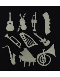 Fashion Xt02042 Musical Instrument Star Cartoon Wall Sticker Fluorescent Self-adhesive Wall Sticker 10pcs/pack
