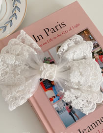 Fashion White Lace Bow Hairpin