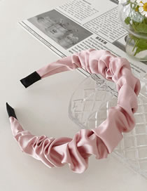 Fashion Pink Simulated Silk Pleated Satin Color Headband