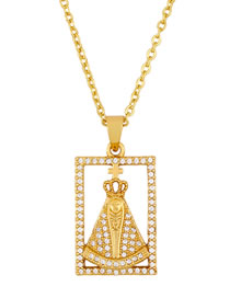 Fashion Golden Madonna Rectangular Cross Necklace With Zircon Cross