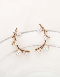 Fashion Golden Alloy Earrings With Pearl Branches
