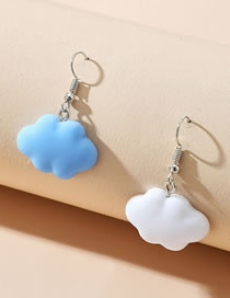 Fashion White+blue Resin Contrast Color Alloy Cloud Earrings