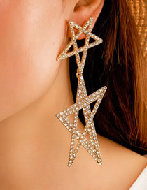 Fashion Gold Color Five-pointed Star Hollow Earrings