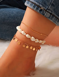 Fashion Color Mixing Shell Conch Sequin Alloy Anklet Set