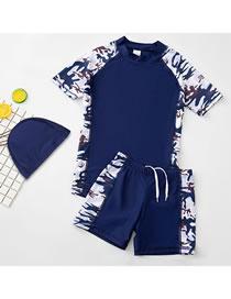 Fashion No Word Camouflage (three-piece Set) Alphabet Printing Contrast Childrens Swimwear Swimming Trunks Swimming Cap