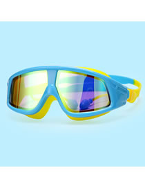 Fashion Electroplated Lake Blue (blocking Strong Light) Electroplated Large Frame Waterproof And Anti-fog Gradient Childrens Swimming Goggles