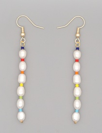 Fashion White Freshwater Pearl Contrast Geometric Earrings