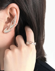 Fashion Silver Single Hollow Flame Integrated Alloy Ear Clip