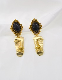 Fashion Gem Abstract Face Gem Alloy Earrings