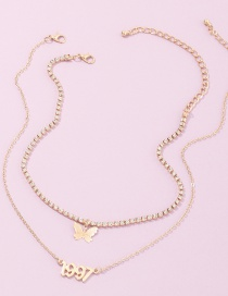 Fashion Golden Multi-layer Necklace With Diamond Chain And Butterfly