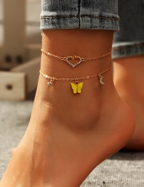 Fashion Yellow Diamond-shaped Love Cardiogram Acrylic Butterfly Multi-layer Anklet