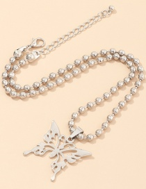 Fashion Platinum Round Bead Chain Butterfly Alloy Hollow Necklace