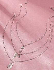 Fashion Platinum Multilayer Necklace With Key Clip Blade Alloy