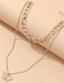 Fashion Golden Thick Chain Double Layer Butterfly Necklace