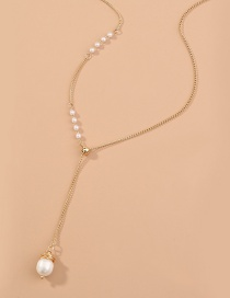 Fashion White Geometric Round Bead Pearl Alloy Tassel Necklace