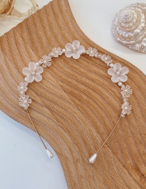 Fashion Flowers Frosted Pearl Flower Resin Alloy Thin Edge Hair Band