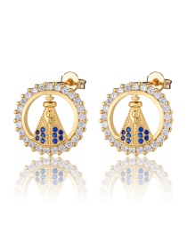 Fashion Golden Gold-plated Zircon Round Earrings