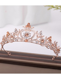 Fashion Rose Gold Copper Inlay Zircon Crown Love Hollow Crown