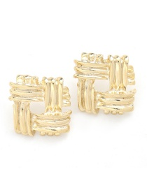 Fashion Golden Square Alloy Laminated Geometric Earrings