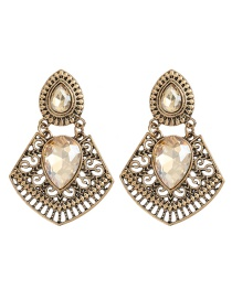 Fashion Golden Alloy Carved Glass Diamond Geometric Hollow Earrings
