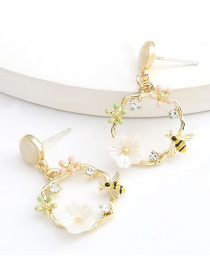 Fashion Gold Color Alloy Drip And Diamond Resin Bee Earrings