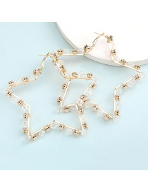 Fashion Golden Hollow Five-pointed Star Alloy Diamond Earrings