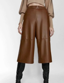 Fashion Brown Fleece Faux Leather Elastic Waist Panel Shorts