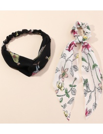 Fashion Color Mixing Chiffon Printed Ribbon Intestinal Loop Hair Rope Hairband Set