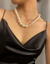 Fashion White Large And Small Pearl Braided Necklace