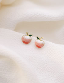 Fashion Color Mixing Drop Oil Peach Alloy Earrings