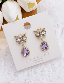 Fashion Purple Diamond Butterfly Geometric Alloy Earrings