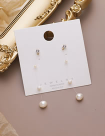 Fashion Pearl Tassel Pearl Flower Love Fish Line Diamond Earrings