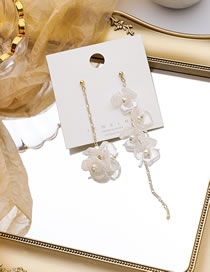 Fashion White Pearlescent Flower Chain Asymmetrical Long Earrings