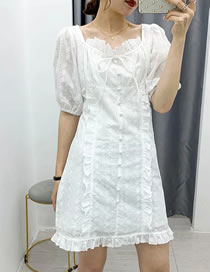 Fashion White Hollow Embroidery Dress With Wood Ears