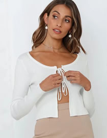 Fashion White Thin Knitted Sweater With Tie On Chest